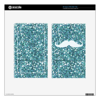 GIRLY BLUE WHITE MUSTACHE PRINTED GLITTER SKIN FOR KINDLE FIRE