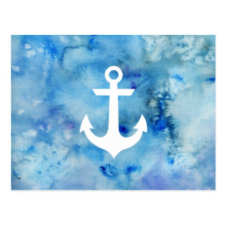 Girly Blue White Watercolor Nautical Anchor Postcard