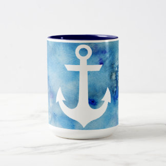 Girly Blue White Watercolor Nautical Anchor Two-Tone Coffee Mug