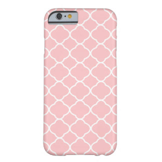 Girly Blush Pink and White Quatrefoil Pattern Barely There iPhone 6 Case