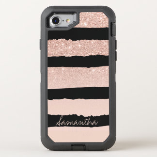 Girly blush pink faux rose gold stripes OtterBox defender iPhone 8/7 case