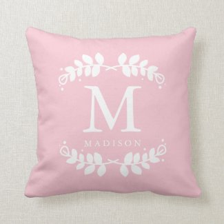 Girly Blush Pink Floral Frame Monogram Throw Pillow