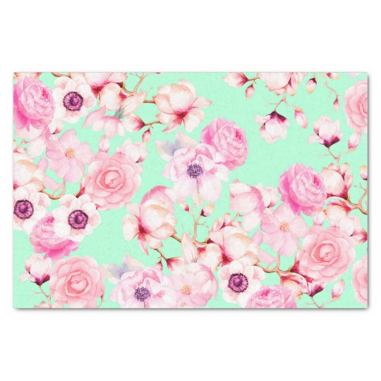 Girly Blush Pink Floral On Mint Green Tissue Paper