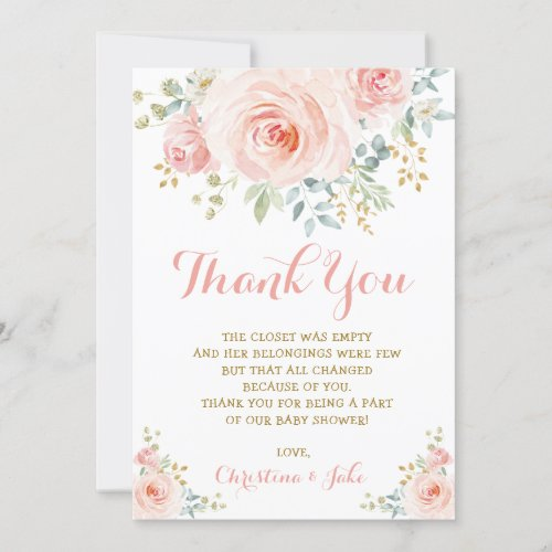 Girly Blush Pink Gold Floral Baby Shower Boho Rose Thank You Card