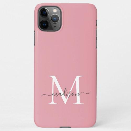 Girly Blush Pink Monogram Elegant Gray Chic Script iPhone 11Pro Max Case