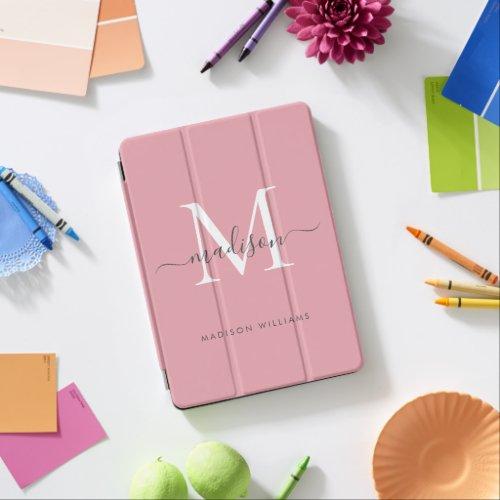 Girly Blush Pink Monogram Gray Chic Script Name iPad Air Cover