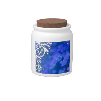 Girly bohemian chic blue floral white lace candy jars
