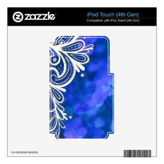 Girly bohemian chic blue floral white lace decals for iPod touch 4G