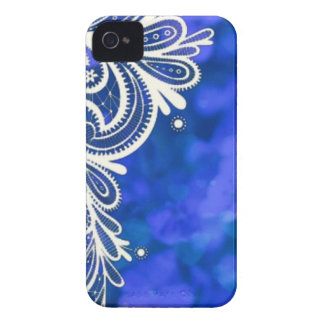Girly bohemian chic blue floral white lace iPhone 4 cover