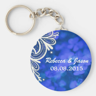 Girly bohemian chic blue floral white lace keychain