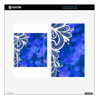 Girly bohemian chic blue floral white lace kindle fire skin