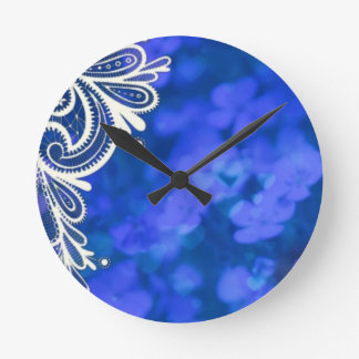 Girly bohemian chic blue floral white lace round clock