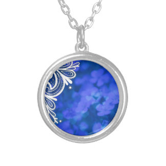 Girly bohemian chic blue floral white lace silver plated necklace