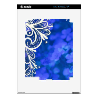 Girly bohemian chic blue floral white lace skin for iPad 2