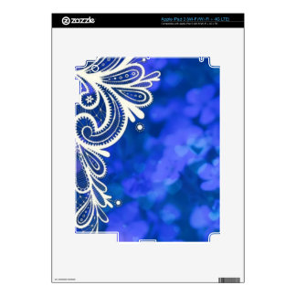 Girly bohemian chic blue floral white lace skin for iPad 3