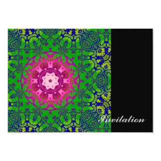 girly bohemian Fuschia green pattern damask Custom Invite