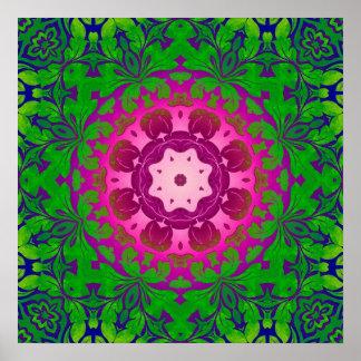 girly bohemian Fuschia green pattern damask Poster