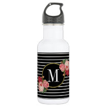 Girly Boho Classy Black Striped Floral Monogram Stainless Steel Water Bottle