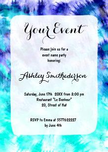 tie dye invitations zazzle