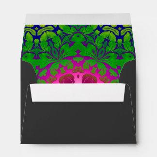girly bold pattern Fuschia green damask Envelope