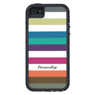 Girly Bold Raibow Big Horizontal Stripes and Name iPhone 5 Cases