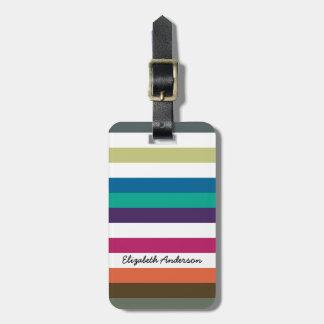 Girly Bold Rainbow Big Horizontal Stripes and Name Bag Tag