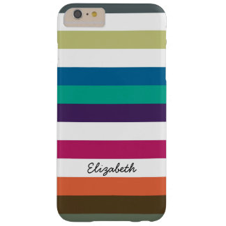 Girly Bold Rainbow Big Horizontal Stripes and Name Barely There iPhone 6 Plus Case