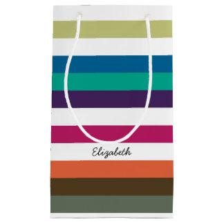 Girly Bold Rainbow Big Horizontal Stripes and Name Small Gift Bag