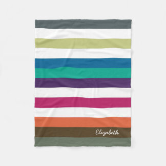 Girly Bold Rainbow Big Horizontal Stripes and Name Fleece Blanket