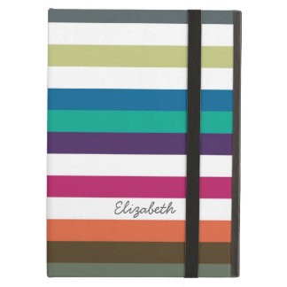 Girly Bold Rainbow Big Horizontal Stripes and Name Case For iPad Air