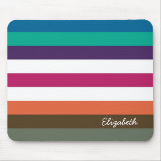 Girly Bold Rainbow Big Horizontal Stripes and Name Mouse Pad