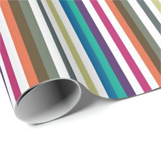 Girly Bold Rainbow Big Horizontal Stripes Pattern Wrapping Paper