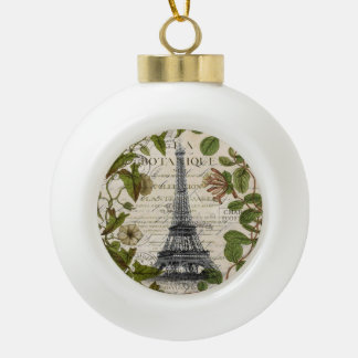 girly botanical leaves vintage paris eiffel tower ceramic ball christmas ornament