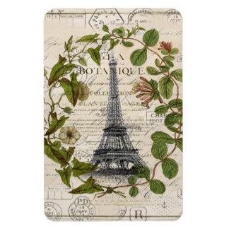 girly botanical leaves vintage paris eiffel tower magnet