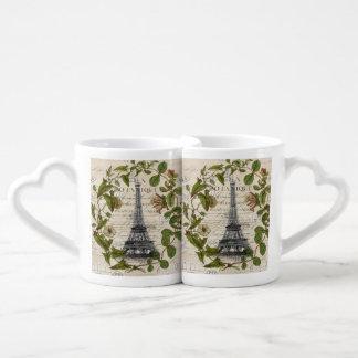 girly botanical leaves vintage paris eiffel tower couples' coffee mug set