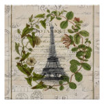 girly botanical leaves vintage paris eiffel tower poster