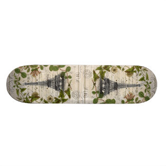 girly botanical leaves vintage paris eiffel tower skateboard