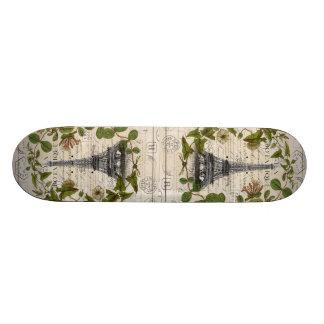 girly botanical leaves vintage paris eiffel tower skateboard deck