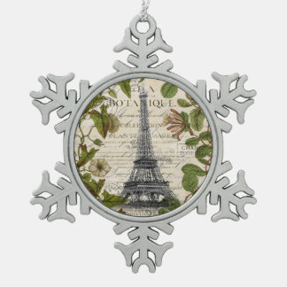 girly botanical leaves vintage paris eiffel tower snowflake pewter christmas ornament