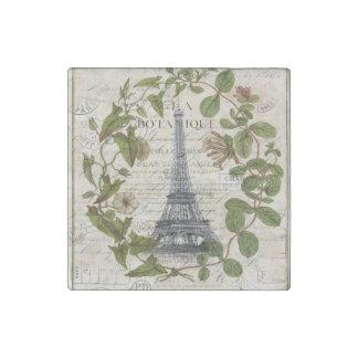 girly botanical leaves vintage paris eiffel tower stone magnet