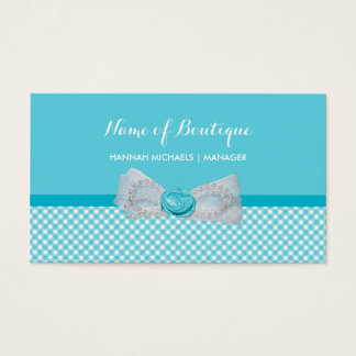 Girly Boutique Aqua Gingham Cute Pearls Rose Bow Business Card
