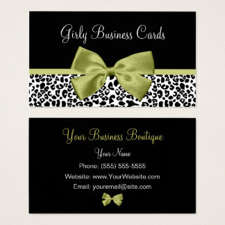 Girly Boutique Leopard Print Stylish Green Bow Business Card