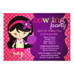 "Girly Bowling Birthday Party 5"" X 7"" Invitation Card"