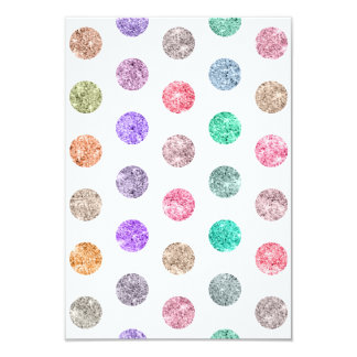 Girly Bright Mod Glitter Polka Dots Chic Pattern 3.5x5 Paper Invitation Card