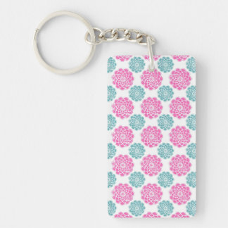 Girly Bright Pink and Teal Floral Pattern Keychain