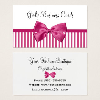 Girly Bright Pink and White Stripes Cute Pink Bow Business Card