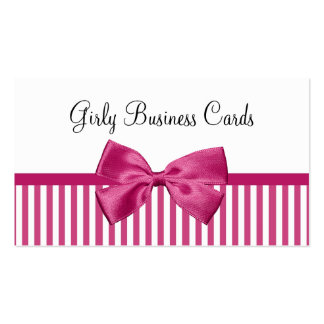 Girly Bright Pink and White Stripes Cute Pink Bow Double-Sided Standard Business Cards (Pack Of 100)
