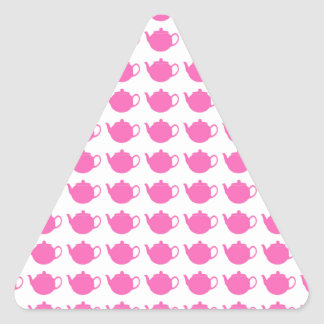 Girly Bright Pink Teapots Triangle Sticker
