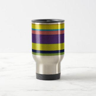 Girly Bright Polka Dot Stripes Travel Mug