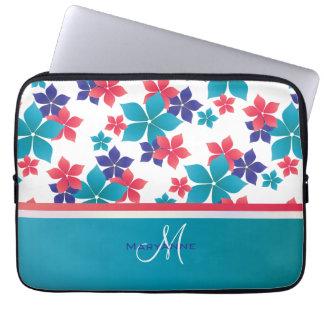 Girly Bright Spring Sakura Pattern Monogram Laptop Sleeve